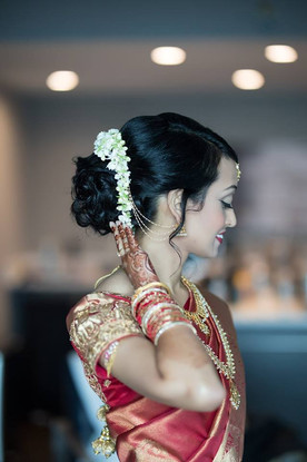 South Indian Bridal Updo with Jasmine Flowers