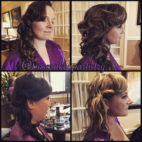 Hairstyles from all down, side swept to half up, TM's Team can create any look the bridal party desires!