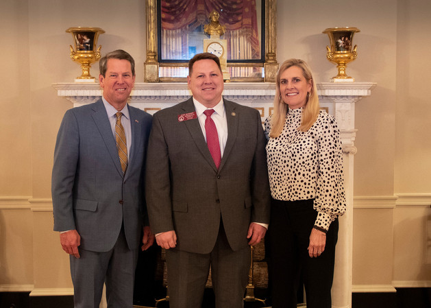 Josh Bonner with Governor Brian Kemp and Marty
