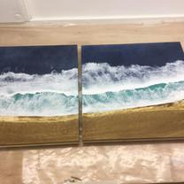 Waves on oak - a pair