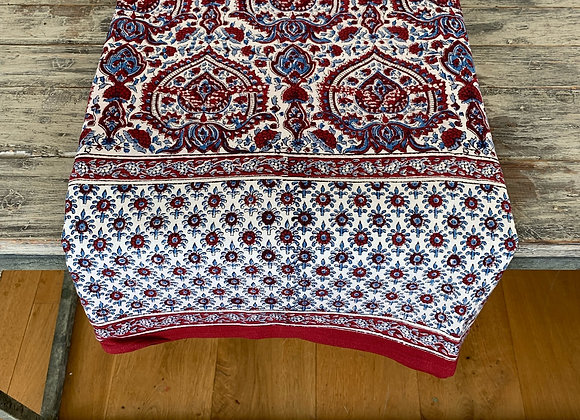 RED AND BLUE PAISLEY TABLECLOTH
