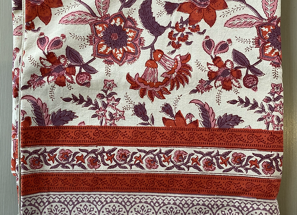 RED PINK FLORAL TABLECLOTH