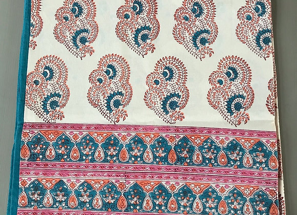 BLUE AND PINK PAISLEY TABLECLOTH