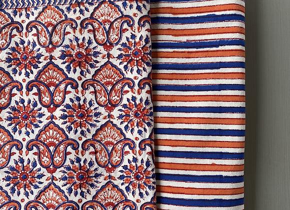 ORANGE AND BLUE CUSHION COVERS