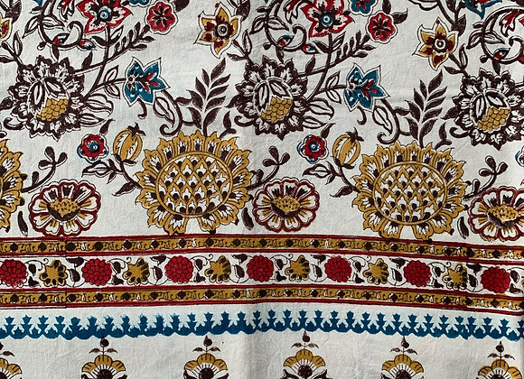 WHITE/YELLOW POMEGRANATE TABLECLOTH
