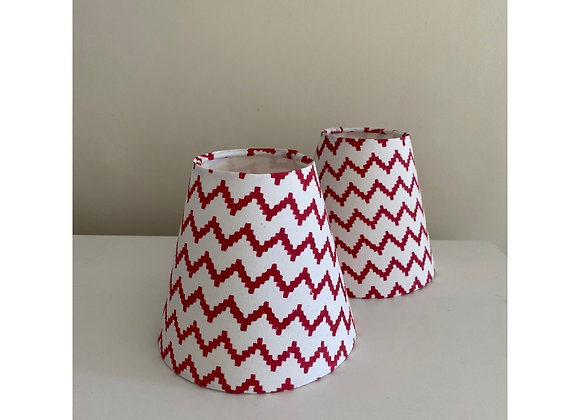 Pair of Red and White Zag Lampshades