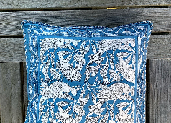 BLUE PARROT CUSHION COVERS
