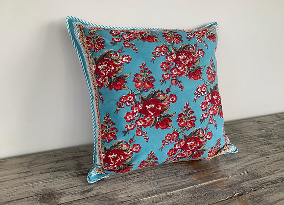 TURQUOISE WITH RED FLOWERS CUSHION COVERS