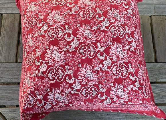 RED AND PINK FLORAL CUSHION COVER