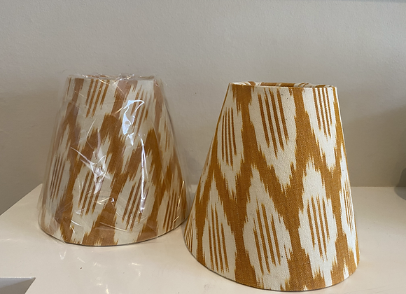 Pair of Yellow Ikat Candle Lampshades