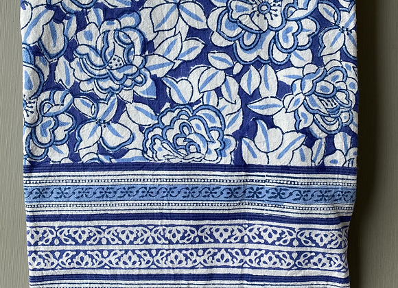 BLUE AND WHITE FLORAL TABLECLOTH