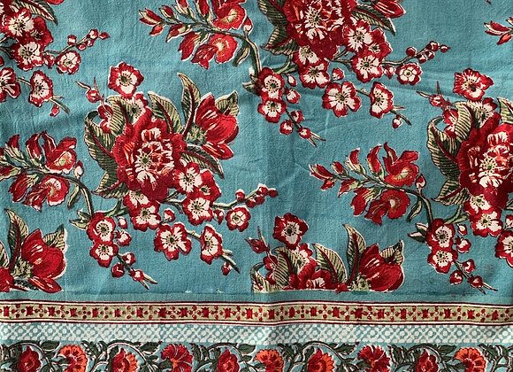 TURQUOISE WITH RED FLOWERS