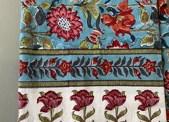 TURQUOISE PINK GARDEN TABLECLOTH