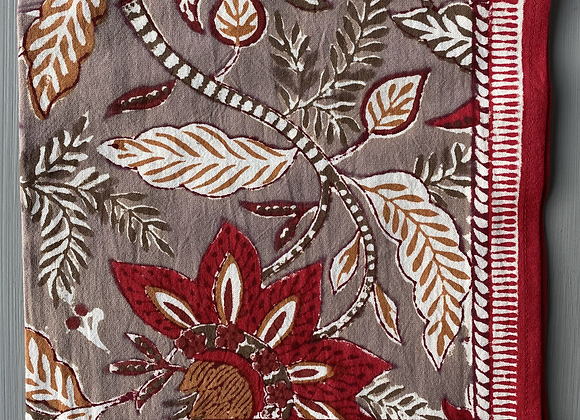 RED AND BROWN FLOWER NAPKIN