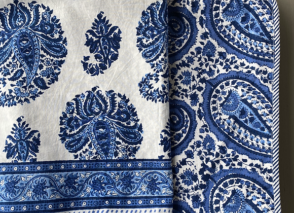 WHITE AND BLUE PAISLEY CUSHION COVER