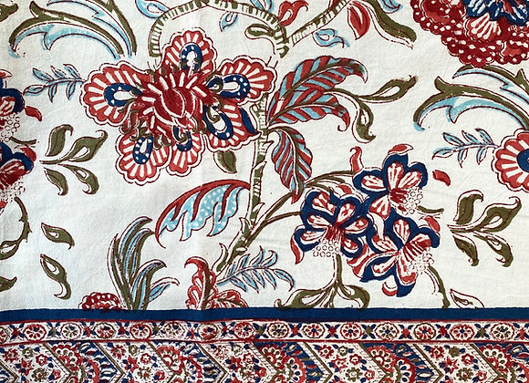 NAVY BLUE AND CORAL TABLECLOTH