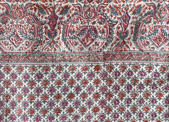 PINK AND GREEN PAISLEY TABLECLOTH