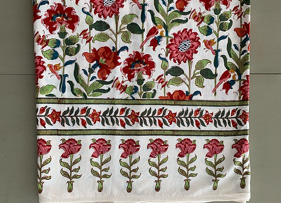 PINK AND WHITE FLORAL TABLECLOTH