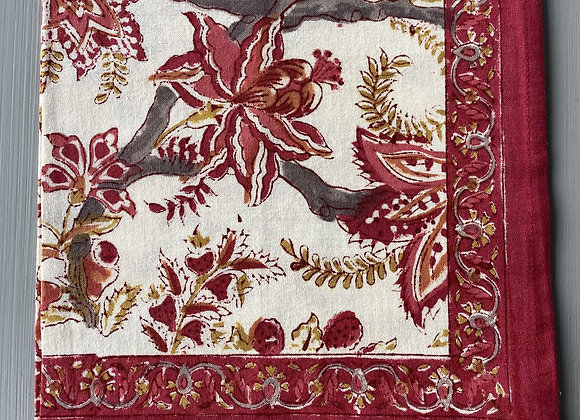 RED AND GOLD FLOWER NAPKIN