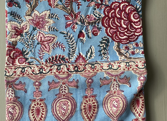 BLUE PINK FLORAL TABLECLOTH