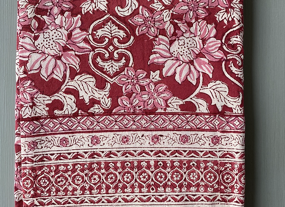RED AND PINK FLORAL TABLECLOTH