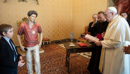 Pope Francis Blesses Carlo Acutis Statue