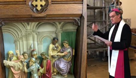Bishop Blesses Cathedral's Stations of the Cross