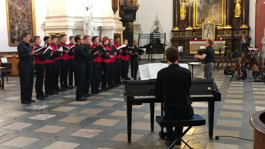 The gentlemen of the Racocas Valley Glee Club and the Shepherd Singers singing Bach at the Church of Peter and Paul in Krakow, Poland.