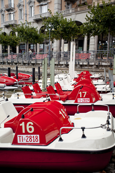 Rental paddle boats of Lake Lugano