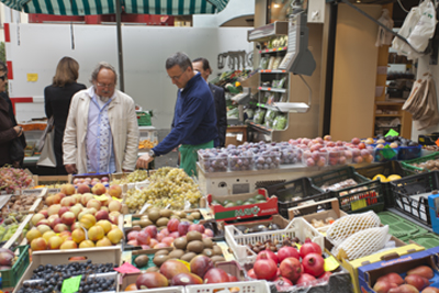 Lugano market in the piazza
