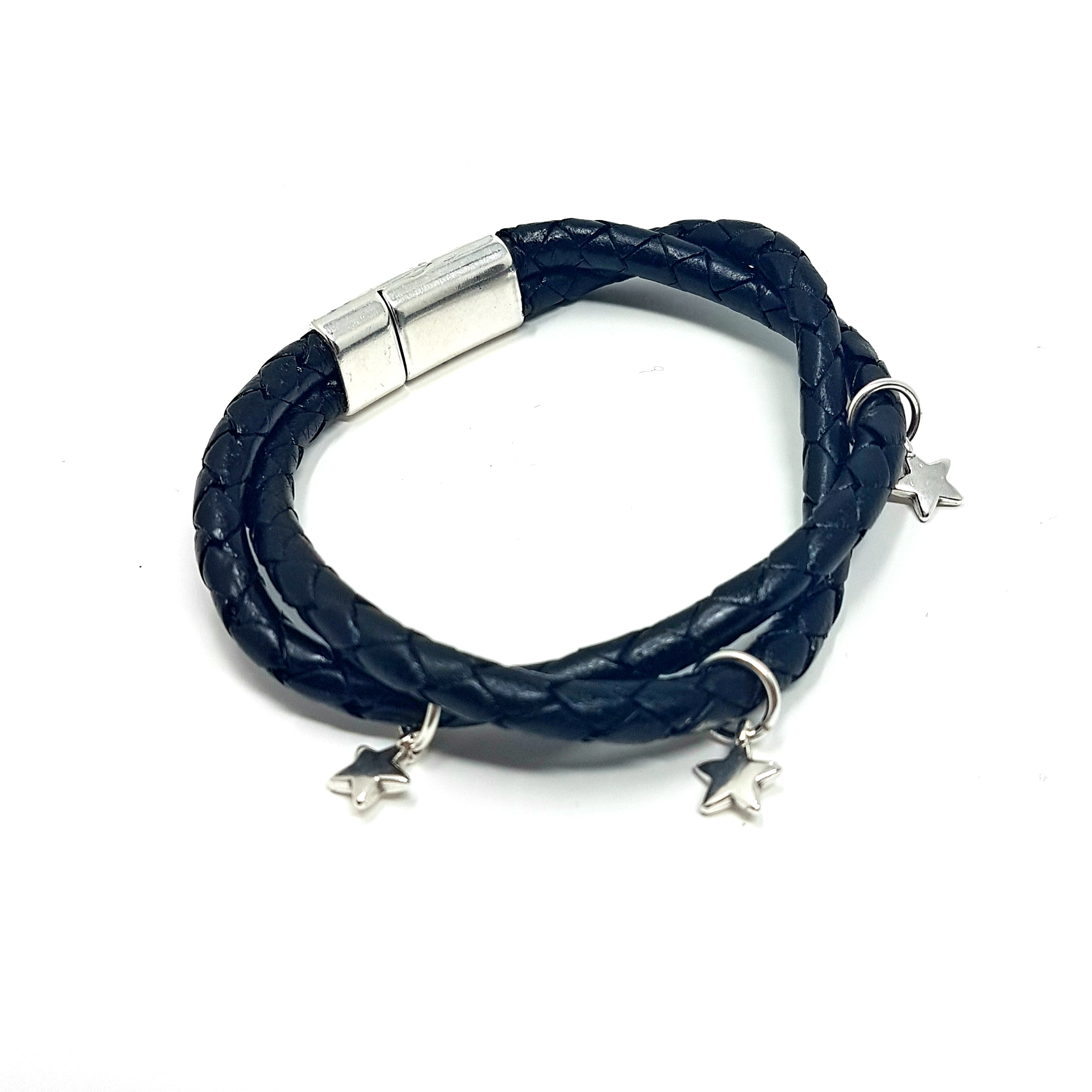 Twisted leather star bracelet