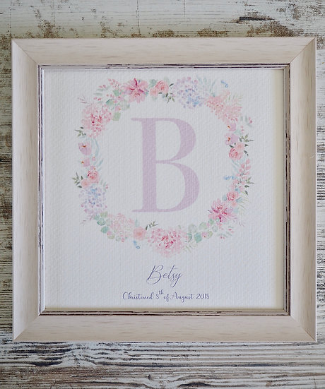 Floral Blush Personalised Mini Wreath 8x8""