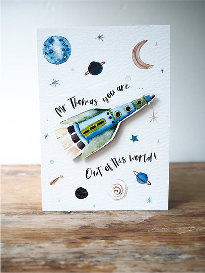 '...Out of this world' keepsake magnet card A6