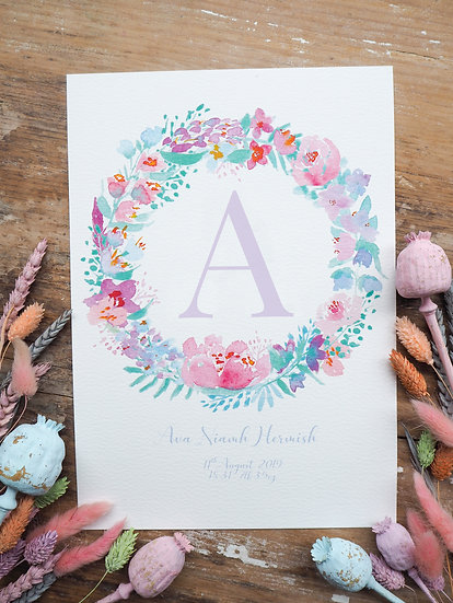 Sherbet Personalised Wreath Print A4 or A3