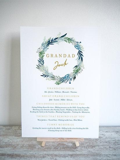 Inky Blue Foliage Wreath Memory Board A4 or A3
