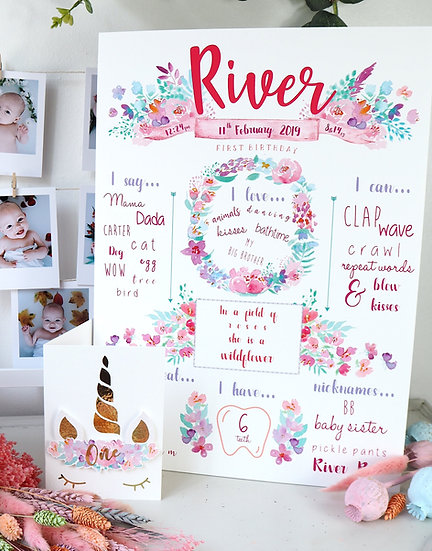 Sherbet Floral Milestone Board A4 or A3