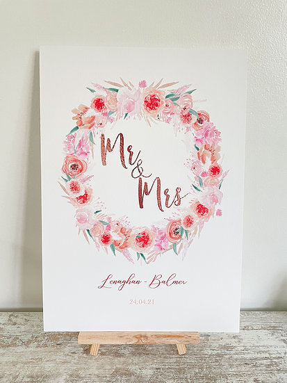 Pink Punch Wreath  Floral Occasion Sign A4 or A3
