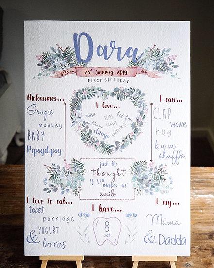 Floral woodland Milestone Birthday / Celebration board A4 or A3