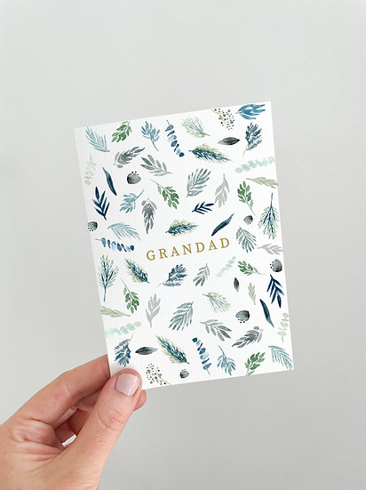 Personalised Scattered Blue Foliage Card A6