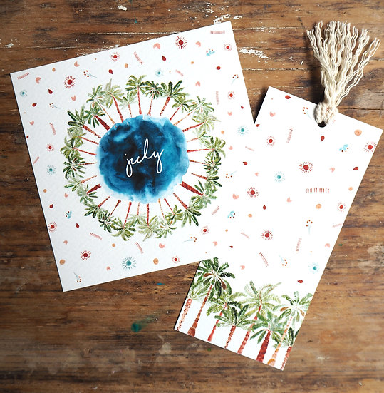 "July Wreath + Book Mark 5x5 "" & 8x8 """