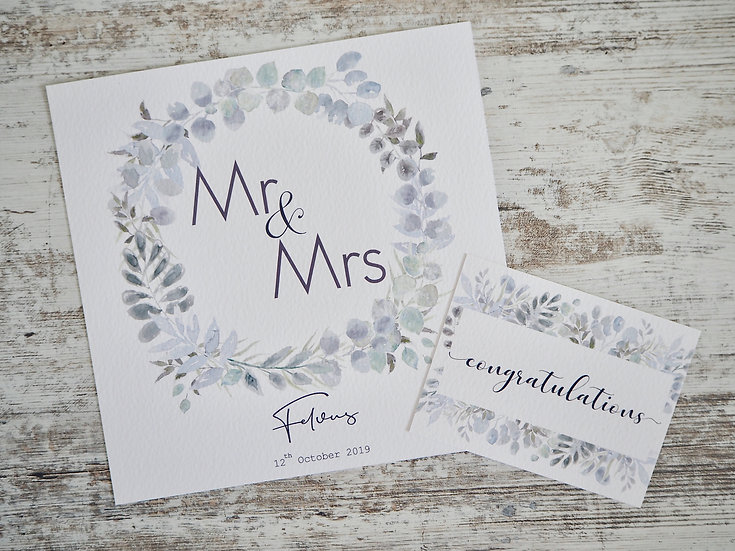 """Wild Garden Newlyweds personalised titles 8x8"""" + gift message"""