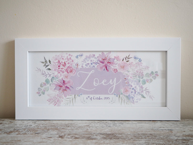 "Floral Blush Personalised 12 x 5 "" Print"