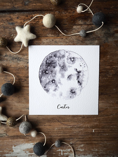 """Shadow Moon Print 5x5"""" 8x8"""" A4 A3"""
