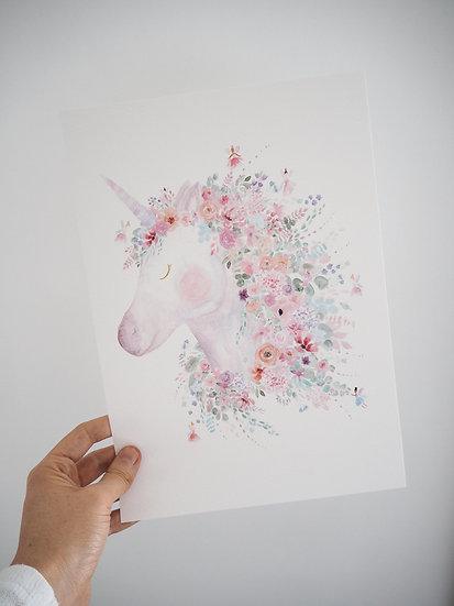 Fairy Floral Unicorn Print A4 or A3