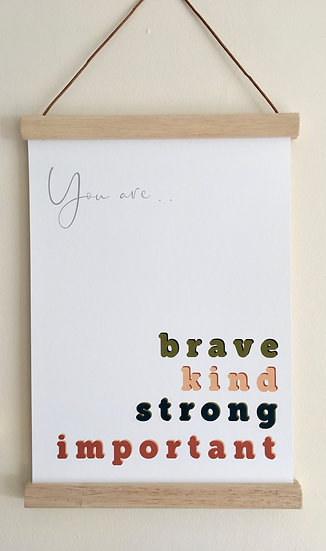 Woodland Adventure Brave, Strong, Kind. A5, A4, A3.
