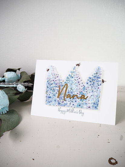 Personalised 3D Blue Floral Crown Card A6