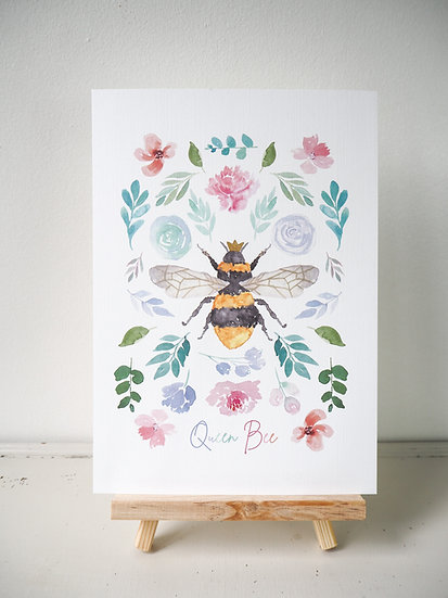 Queen Bee Bouquet Print A5, A4 or 8 x 8 inches