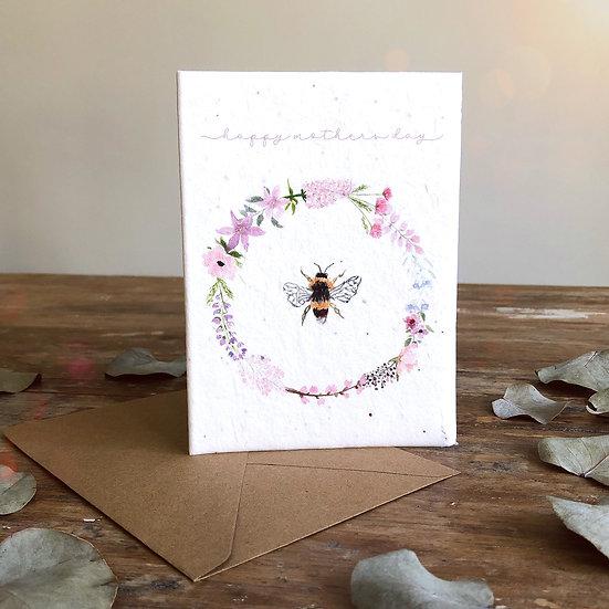 Bee Wreath  Seeded  Card A6