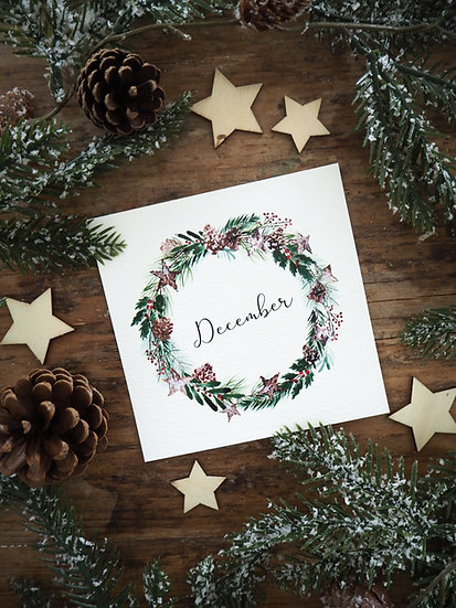 "December Wreath 5x5""  &  8x8"""