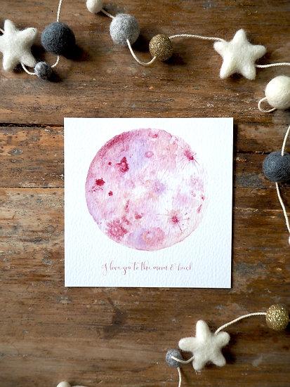 """Blush Moon  Print 5x5"""" 8x8"""" A4 A3"""